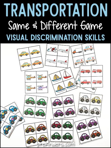 Transportation Same Different Activity for Visual Discrimination Skills