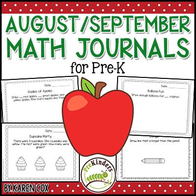 Pre-K Math Journals August September