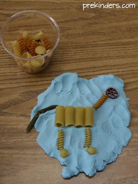 Dinosaur Pasta Skeleton with Play Dough
