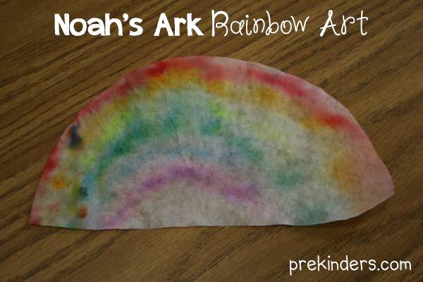 Noah 39 s ark coffee filter rainbows prekinders for Noah s ark preschool craft