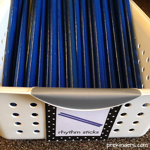 Rhythm sticks for preschool music center