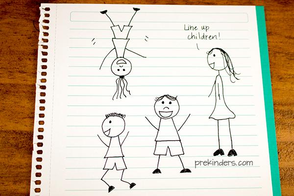 Lining Up in Preschool Cartoon